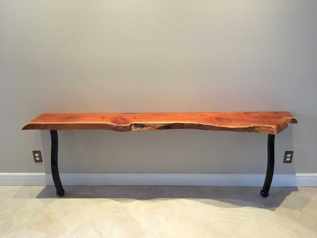 Front of Live Edge Bench Furniture Created Out of Live Edge Wood Supply | Signature Tree Care in Naples, FL